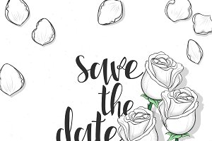 Roses Postcard. Save the Date