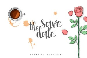 Rose and coffee card. Save the Date