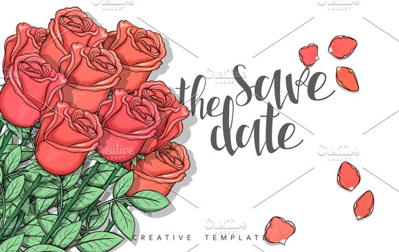 Roses Postcard. Save the Date - Invitations