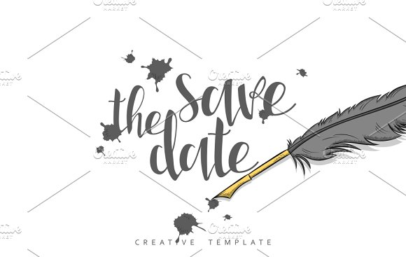 Ink spots and feather. Save the Date - Cards