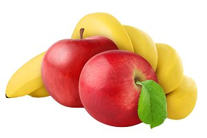 Red apples and bananas isolated