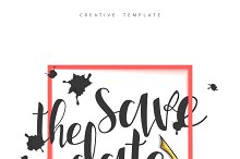 Calligraphy and spots postcard