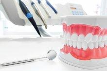 Dantal tools and jaw model.