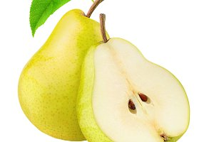 Cut yellow pears isolated