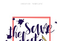 Calligraphy and ink spots postcard