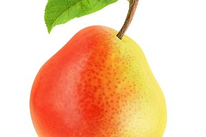 Yellow red pear isolated