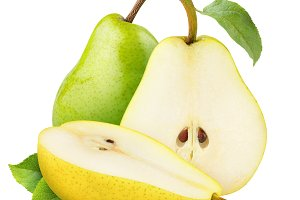 Yellow and green pears isolated