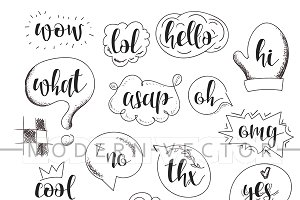 Set bubbles dialog and calligraphy