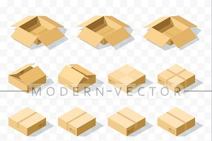 Set 12 realistic isometric boxes
