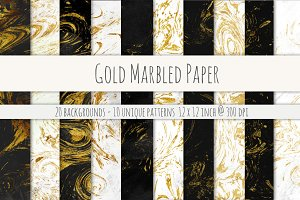 Gold Marbled Digital Paper