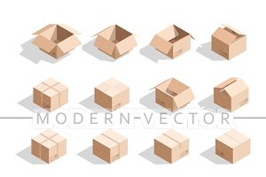 Set 16 realistic isometric boxes