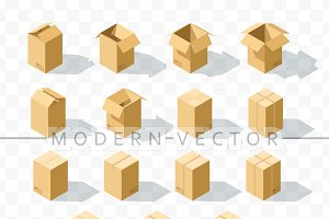 Set 15 realistic isometric boxes