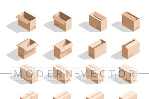 Set 18 realistic isometric boxes