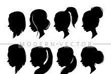 Set 8 beautiful female silhouettes
