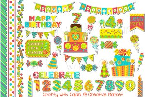 Candy Birthday Clipart in Neon Color