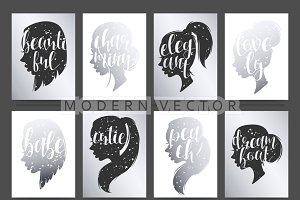 Mockup beautiful female silhouettes