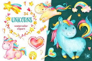 Unicorns. Watercolor clipart