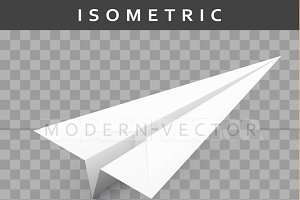 Realistic paper airplane isometric