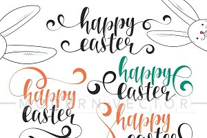 Happy easter. Calligraphy set. Bunny