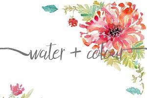 watercolor dahlia border