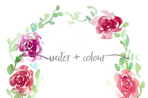 watercolor roses wreath
