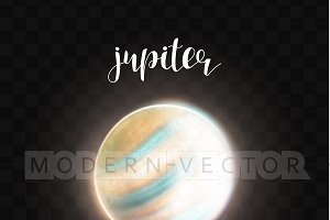 Realistic glowing Jupiter planet