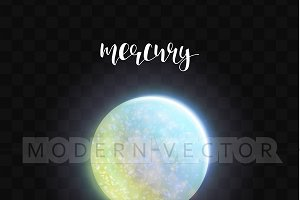 Realistic glowing Mercury planet