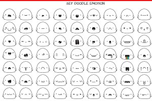 Set 70 cute doodle emotions