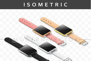 Set realistic smart watch isometry