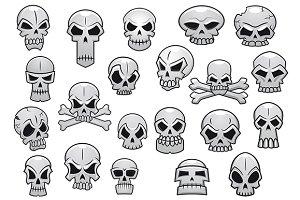 Human and evil skulls set