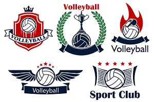 Volleyball sport icons and symbols