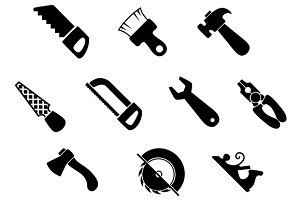 Set of isolated hand tools icons