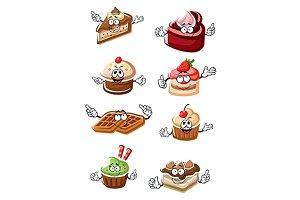 Chocolate cakes, cupcakes, waffles