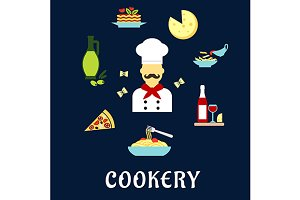 Italian cuisine flat icons