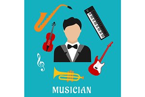Musician and instruments flat icons