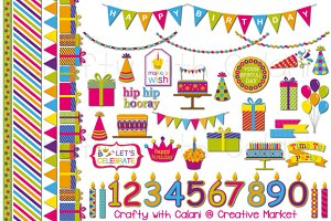Colorful Children Birthday Clipart