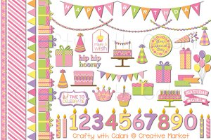 Sweet Girl Birthday Clipart Set