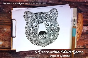 5 Decorative Wild Bears