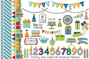 Cute Boy Birthday Clipart Set