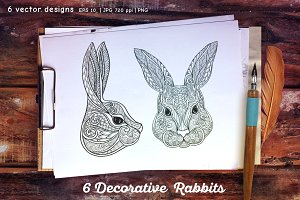 6 Decorative Rabbits