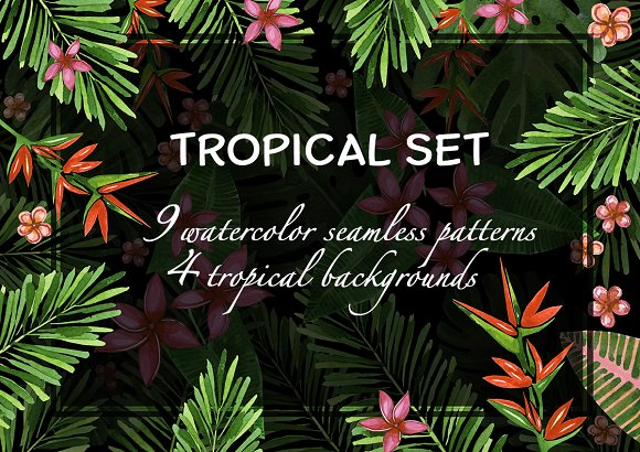Tropical watercolor patterns.