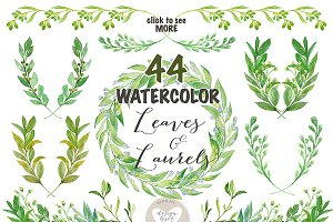 Watercolor Leaves, Laurel and Wreath