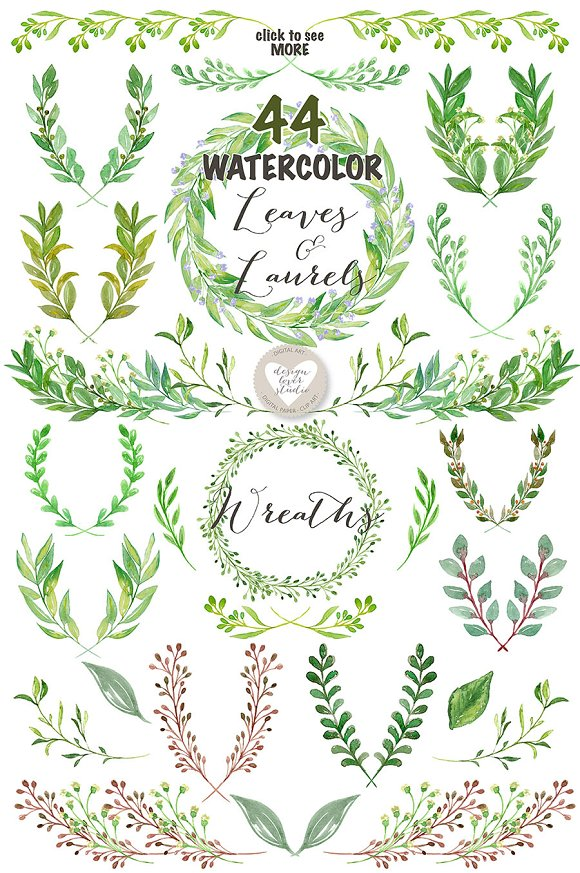 Watercolor Leaves, Laurel and Wreath ~ Illustrations ...