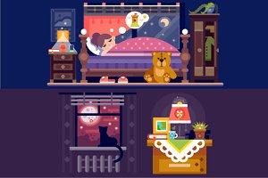 Dreaming Girl In Cozy Bedroom.