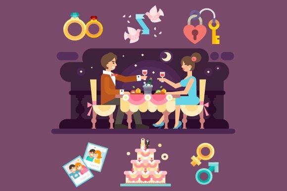Romantic Dinner Of Lovely Couple.