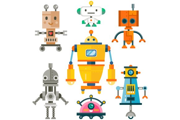 Funny Isolated Robot Set.