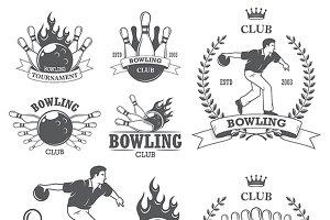 Set of vintage bowling logos templat