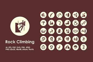 Rock Climbing simple icons