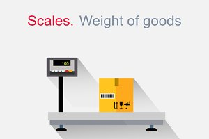 Scales flat Design. Weight of Goods