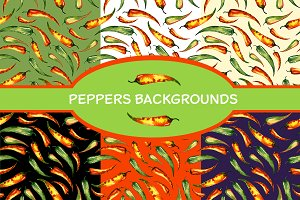 Chili peppers pattern and background